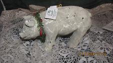 NEW PACIFIC RIM PAPER MACHE CHRISTMAS WREATH COLLAR PIG FIGURINE, NWT