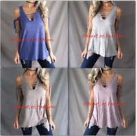 Womens Distressed Ladder Caged Cutout Cold Shoulder Ribbon Tie Relaxed Tunic Top