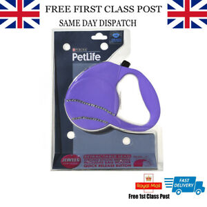 Purina PetLife Retractable Jewels Dog Lead - Purple 5M Up To 20Kg