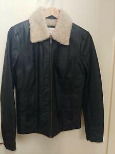 Asos Villa faux shearling convertible black leather jacket M 10-12 NWOT