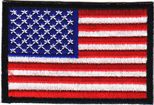 """American Flag Black Border Iron On Patch Embroidered 3"""" Usa"""