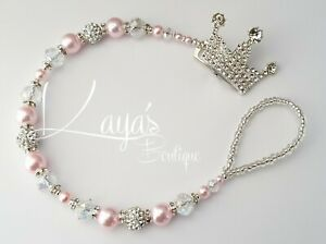 *Diamanté Crown* Bling Romany Crystal Pearl Shamballa Dummy Clip *Any Name Pink