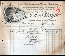 """TOULOUSE (31) USINE au MOULIN DU CHATEAU / ORNEMENTS en BOIS """"A. ALAYRAC"""" 1892"""