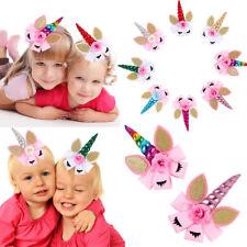 Unicorn Horn Glitter Ear Hair Clip Big Bow Baby Girl Hairpin Hair Accessories