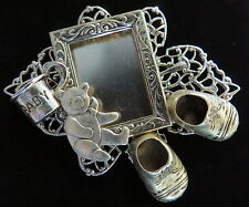 Baby Theme Wearable Photo Frame Pin Bear Shoes Cup Silver Plate Matte Silver Ox