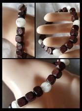 White Murano Glass Spiral Brown Wood Healing Cube Beaded Stretch Bracelet Adj.