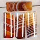 B37532 16x6 4Pcs Stripes Agate Column Pendant Bead