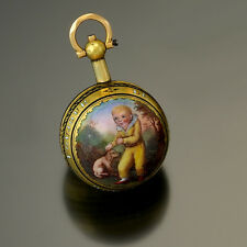 RARE ANTIQUE 18K GOLD ENAMEL MINIATURE VERGE JACQUES PATRON WATCH CA1770