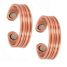 Set of Two - Threaded Copper Magnetic Rings Arthritis Carpal Tunnel Pain Relief
