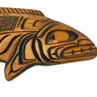 Native American Matilpi Kwakiutl Bond Sound Carved Wooden Salmon Wall Plaque
