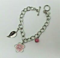 Pink Flower Smithsonian Institution Charm BRACELET Silver Tone EUC