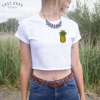 * Pineapple Crop Top Tee Shirt Cute Summer Fruit Pocket Fresh Cropped Tropical *