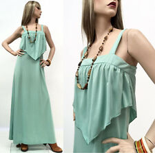 RARE Vintage 70s Hippie Dress Mint Green Drape Top Prairie Maxi Sun M 9 NOSWT