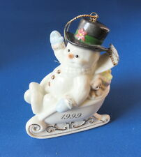 Lenox China - 1999 China Christmas Ornament - Gold Trimmed Sleigh w Snowman