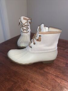 Women's Sperry Saltwater Duck Boots Ivory Metallic STS84428  SZ11 Hard To Find