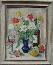 Karl Enock Ohlsson 1889-1958, natura morta con tulipani e narcisi, datato 1948