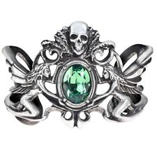 La Fleur de Baudelaire Fairy & Skull Green Crystal Ornate Bracelet Alchemy A69