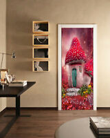3D Red Mushroom House Self-adhesive Living Room Door Murals Wall Sticker Decor