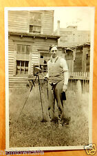 Photographer with Camera on Tripod, Girl Subject Backyard 2 Photo Postcards 1915