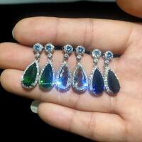 Elegant 3 Colors 925 Silver Dangle Earrings Cubic Zircon Wedding Earrings A Pair