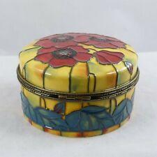 Old Tupton Ware Tube Lined Ceramic Yellow Poppy Round Trinket Box Tw 1681