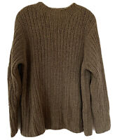J Crew Handknit Wool Cashmere Sweater Pullover Size Mock Neck Men's Large Brown