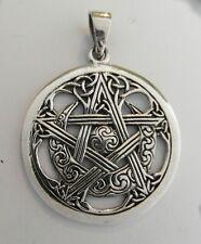 Sterling Silver (925)  Pentagram In  Moon  Pendant   (7  Grams)  !!       New !