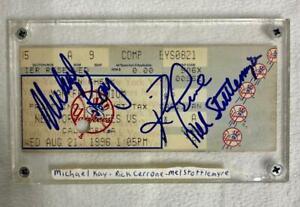 NY Yankees Stadium Ticket Signed by MICHAEL KAY / RICK CERONE / MEL STOTTLEMYRE
