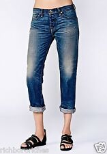 NEW Free People NSF Oiled Stain Easy Straight Boyfriend Jeans button fly 24