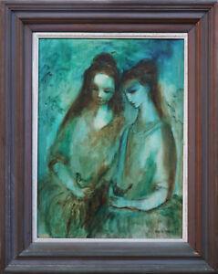 WILLIAM DREW (1928-1983) Original Oil Modernist Two Girls Olsen Dickerson 1960
