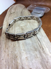 Sterling Silver Hollow Link Dolphin Design Bracelet 8""