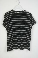 Saint Laurent Hombre Grande a Rayas Bolsillo Parche Manga Corta Camiseta 5629_