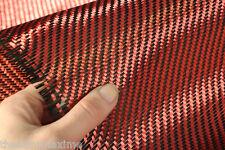 Carbon Fiber / Kevlar Fabric Cloth - Red & Black 5.5OZ - 1 Yard - Custom Parts