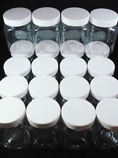 20 Plastic Bottles 200ml Clear 82x55mm Screw Cap Jars Beads Lid Postage