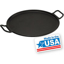 "Cast Iron Pizza Pan 14"" Round Lodge Oven Bake Camp Fire Grill Hunt Fish Picnic"