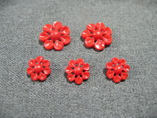 New listing Vintage small & big flower plastic red buttons lot