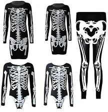 NEW LADIES SKELETON HALLOWEEN  WOMENS LEGGING BODY SUIT MIDI DRESS TUNIC 8-26