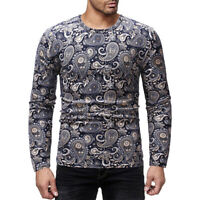 Men Tribal Print Long Sleeve Shirt Casual Round Neck African Blouse Top Slim Fit