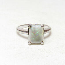 Estate 14K White Gold 1.15 Ct Natural Cushion Colorful White Opal Solitaire Ring