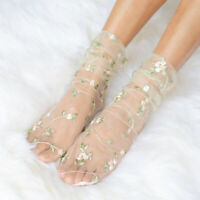 Embroidery Flowers Thin Socks Tulle Women Transparent Chiffon Long Sock