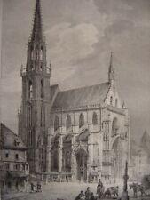 Grande lithographie Vue générale de l'Eglise de THANN par Engelmann c1830