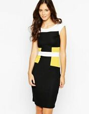 French Connection Colour block Manhattan DRESS black yellow FCUK uk16 US12 bnwt