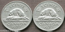 BOTH 1977 CANADIAN 5 CENTS CIRCULATED