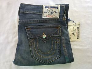 NWT True Religion Denim Blue Jeans Bootcut Mud Slinger with Flaps 40 x 34 Red Or