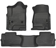 Husky Floor Mats 2014-17 Silverado/Sierra 1500 15-17 2500/3500 Double Cab Black