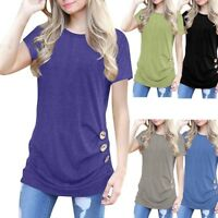 Women's Casual Short Sleeve Loose Button Trim Blouse Solid O Neck Tunic T-Shirt