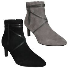 LADIES CLARKS SUEDE POINTED TOE SMART FORMAL HEEL ANKLE BOOTS SIZE CALLA ASTER