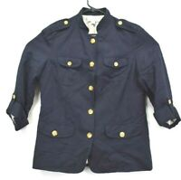 Coldwater Creek Women's Sz 10 Linen Blazer Jacket Navy Blue Button Front Career