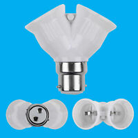 2x B22 to 2xE27 White 2 Into 1 Light Bulb Lamp Socket Fitting Adaptor Splitter