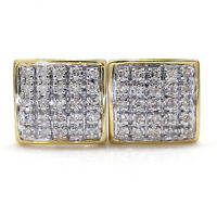 .16ct Mens Ladies 10k Yellow White Real Gold 5 Row Diamond Square Earrings Studs